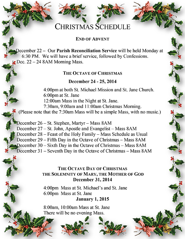 Christmas Schedule to Print