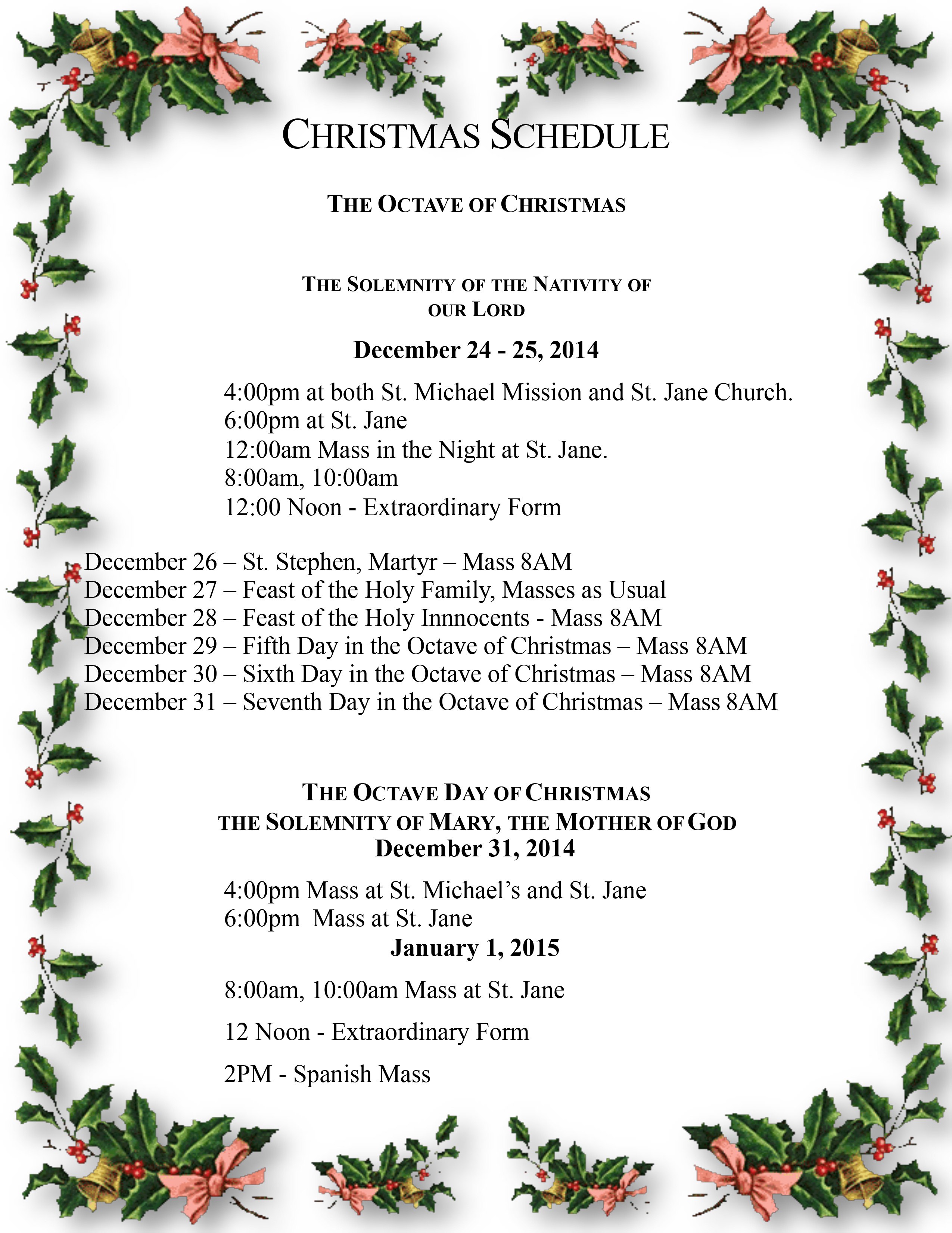 Christmas Schedule 2015