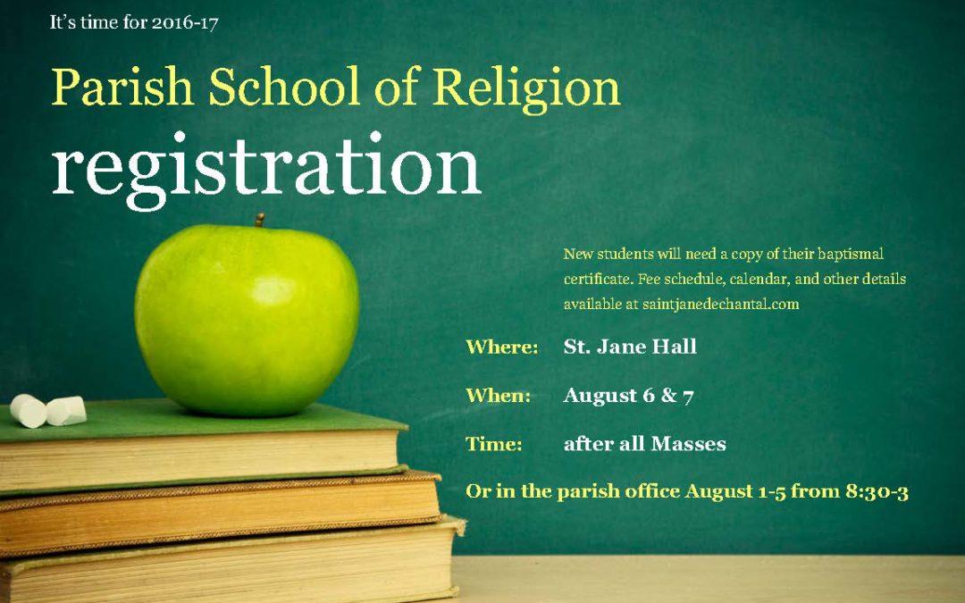 PSR Registration After all Masses August 6-7