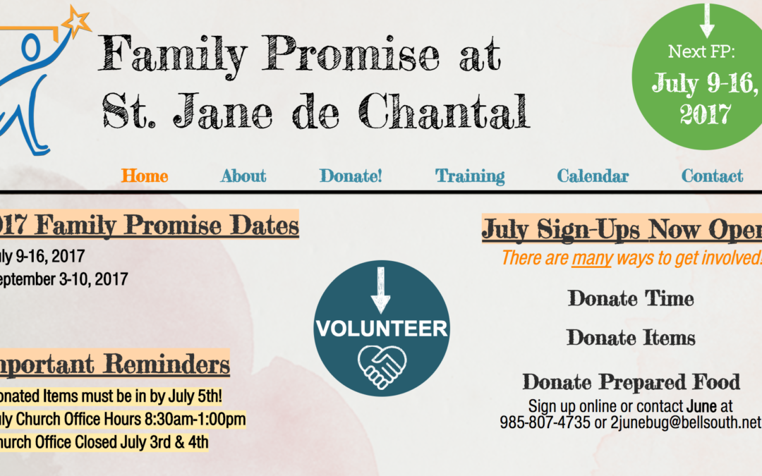 Family Promise – Coming Up!