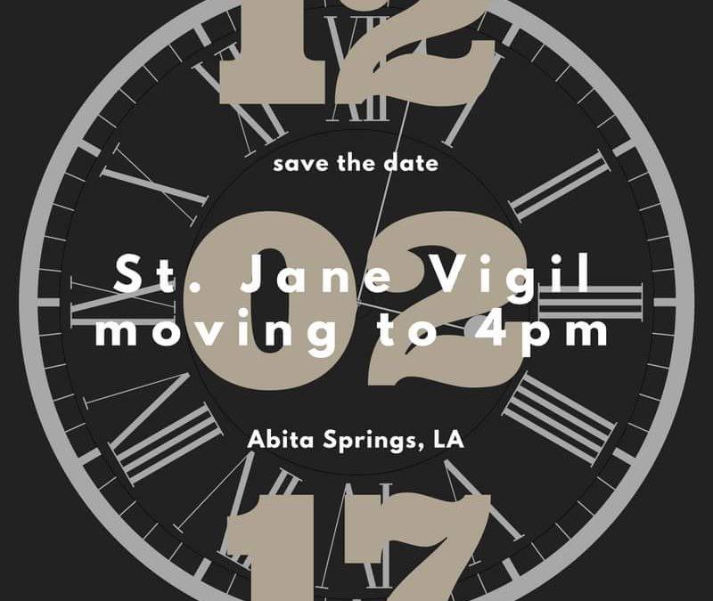New 4 pm Vigil on Saturdays!
